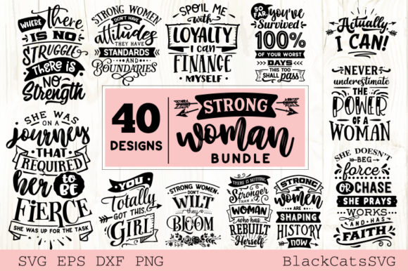 Download Free Strong Woman Svg Bundle 40 Designs Grafico Por Blackcatsmedia for Cricut Explore, Silhouette and other cutting machines.