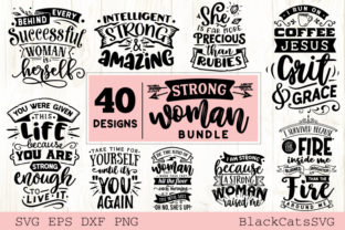 Print on Demand: Strong Woman Bundle 40 Designs Graphic Crafts By BlackCatsMedia 3