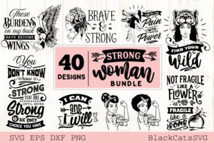 Print on Demand: Strong Woman Bundle 40 Designs Graphic Crafts By BlackCatsMedia 4