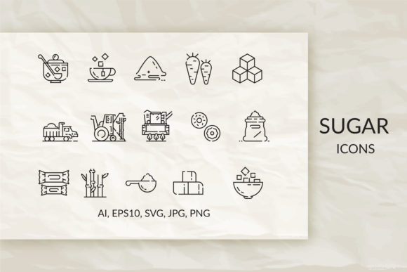Download Free Sugar Set Of Linear Icons Graphic By Mehlily830 Creative Fabrica for Cricut Explore, Silhouette and other cutting machines.