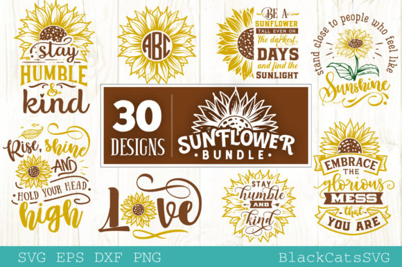Sunflower Bundle 30 Designs Graphic Crafts By BlackCatsMedia