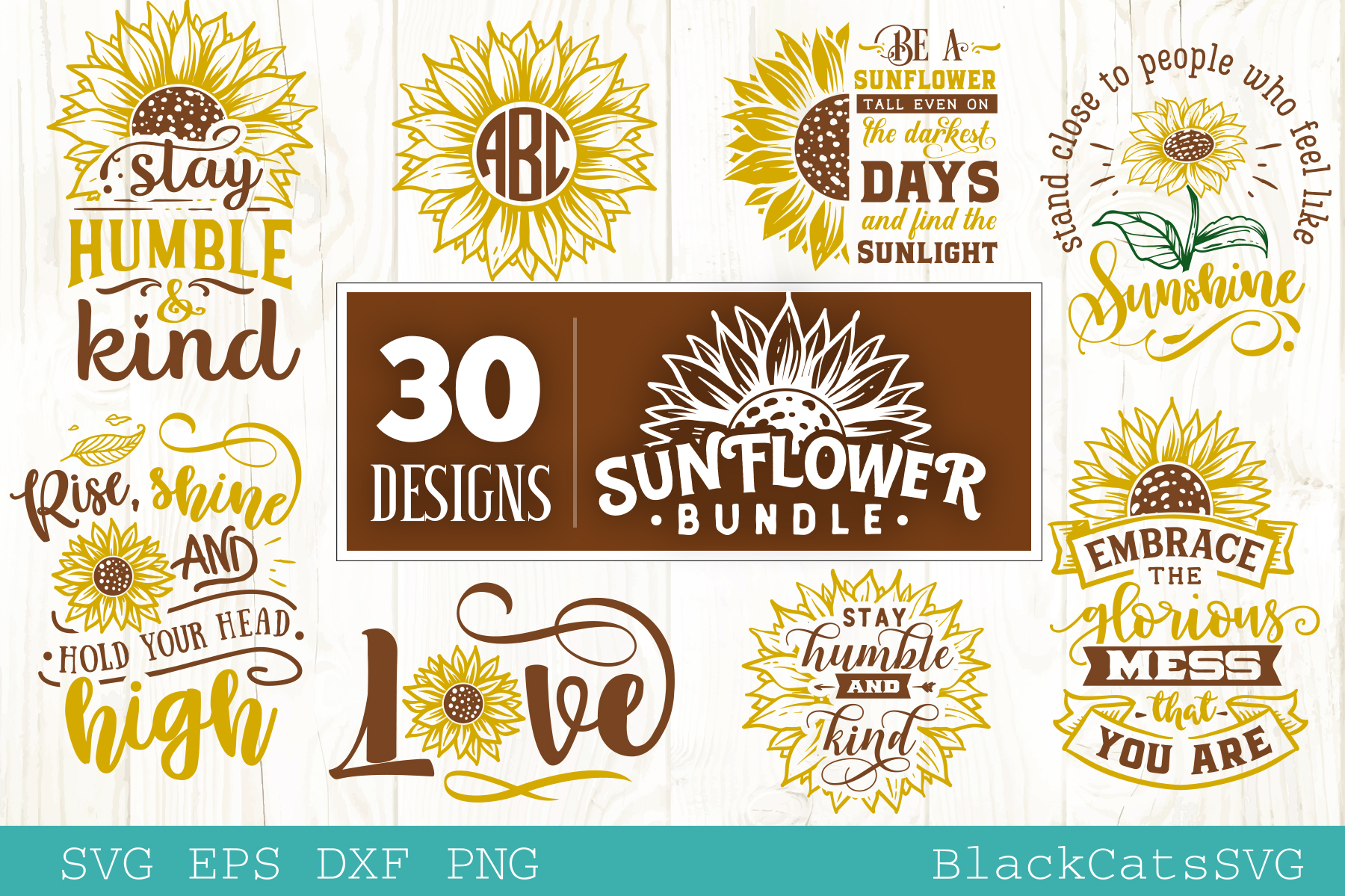 Download Free Sunflower Bundle 30 Designs Graphic By Blackcatsmedia Creative for Cricut Explore, Silhouette and other cutting machines.