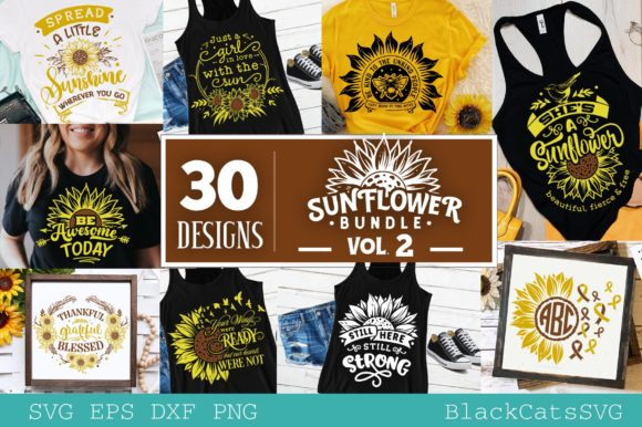 Sunflower Bundle 30 Designs - Vol 2 Grafik Plotterdateien von BlackCatsMedia