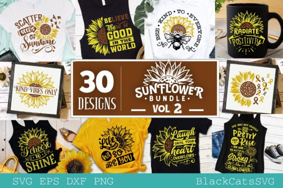 Download Free Sunflower Bundle 30 Designs Vol 2 Graphic By Blackcatsmedia for Cricut Explore, Silhouette and other cutting machines.