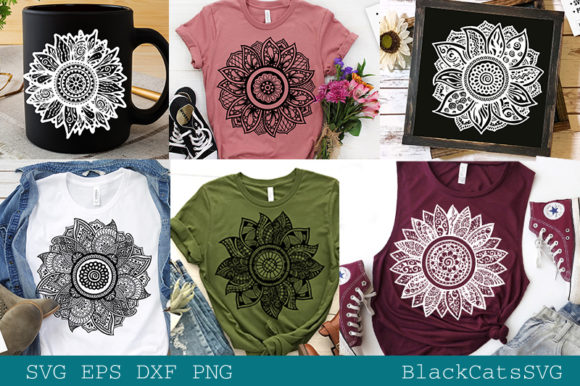 Sunflower Zentangles Bundle   Grafik Plotterdateien von BlackCatsMedia