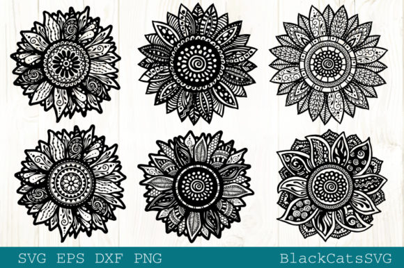 Download Free Sunflower Zentangles Bundle Graphic By Blackcatsmedia Creative for Cricut Explore, Silhouette and other cutting machines.