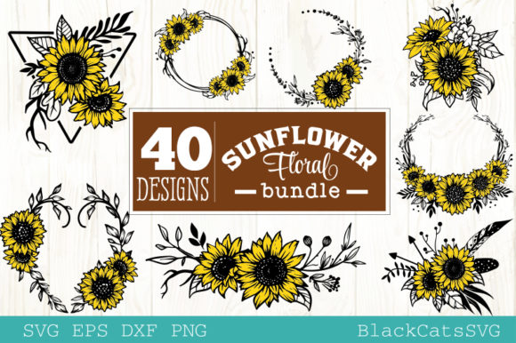 Sunflower Frames Bundle 40 Designs Graphic By Blackcatsmedia