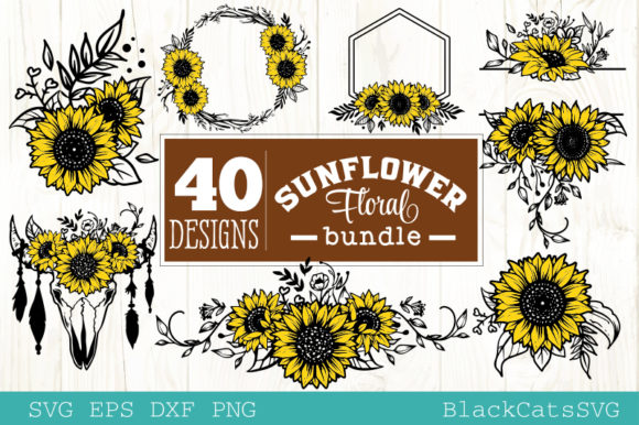 Download Free Sunflower Frames Bundle 40 Designs Graphic By Blackcatsmedia for Cricut Explore, Silhouette and other cutting machines.