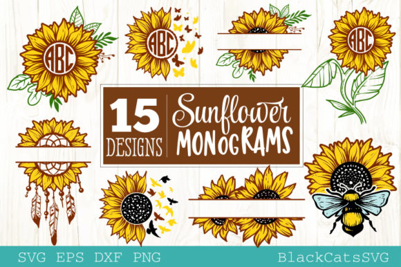 Download Free Sunflower Monograms Bundle 15 Design Graphic By Blackcatsmedia for Cricut Explore, Silhouette and other cutting machines.