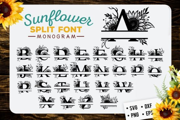 Download Free Sunflower Split Font Monogram Graphic By Blackcatsmedia for Cricut Explore, Silhouette and other cutting machines.