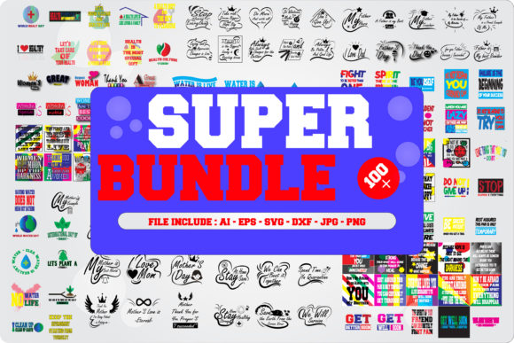 Download Free Super Bundle Graphic By Mahesa Design Creative Fabrica for Cricut Explore, Silhouette and other cutting machines.