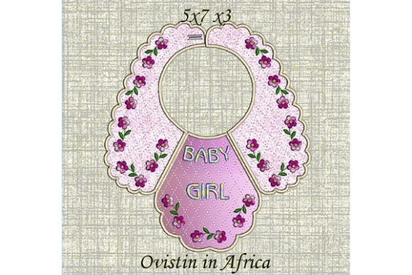 Sweet Pink Floral Baby Bib for Small Hoops Nursery Embroidery Design By Ovistin in Africa