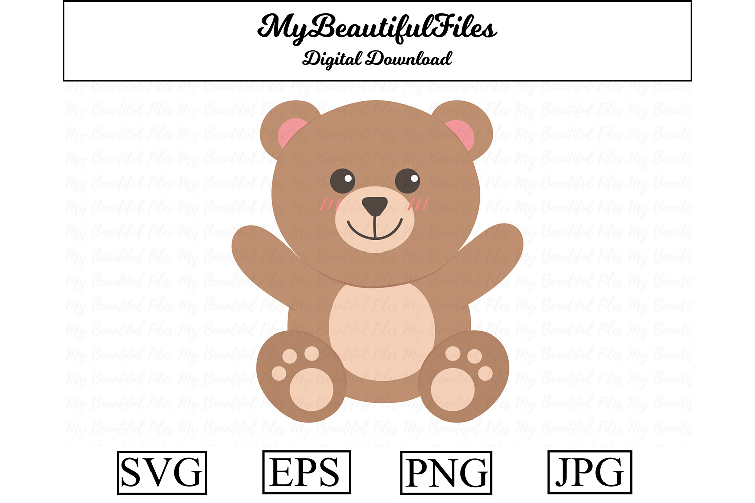 Download Free Teddy Bear Cute Clipart Graphic By Mybeautifulfiles Creative for Cricut Explore, Silhouette and other cutting machines.