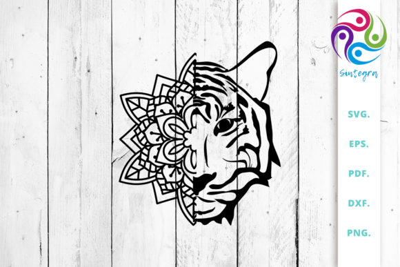 Download Free Tiger Face Out Of Mandala Cut File Graphic By Sintegra for Cricut Explore, Silhouette and other cutting machines.