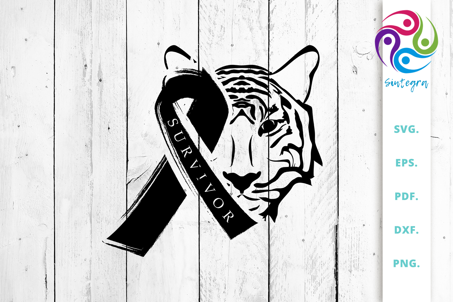 Download Free Tiger Head With Awareness Ribbon Graphic By Sintegra Creative for Cricut Explore, Silhouette and other cutting machines.