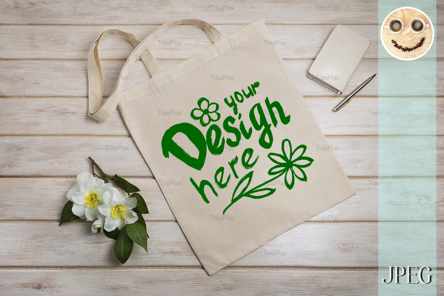 Download Free Tote Bag Mockup With Beige Notepad Graphic By Tasipas for Cricut Explore, Silhouette and other cutting machines.