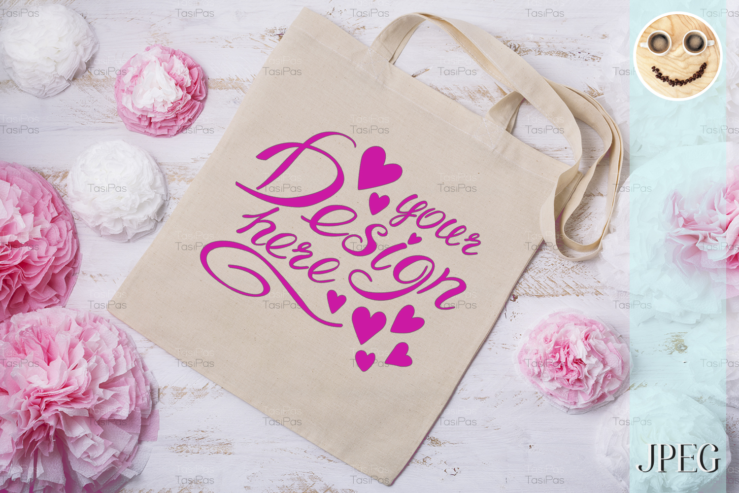 Download Free Tote Bag Mockup With Paper Flowers Graphic By Tasipas for Cricut Explore, Silhouette and other cutting machines.
