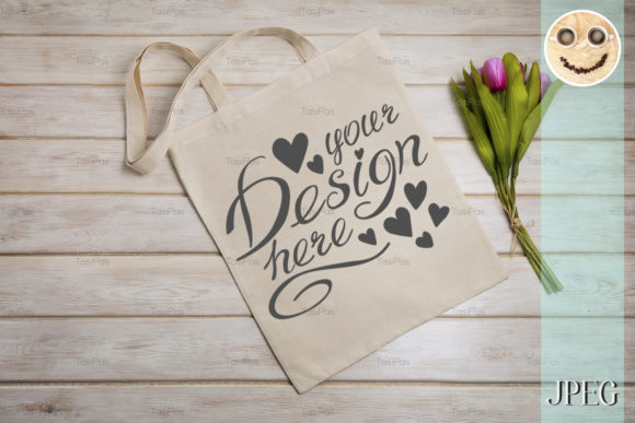 Print on Demand: Tote Bag Mockup with Pink Tulips. Graphic Product Mockups By TasiPas