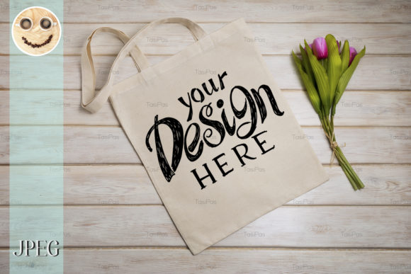 Download Free Tote Bag Mockup With Pink Tulips Graphic By Tasipas Creative for Cricut Explore, Silhouette and other cutting machines.