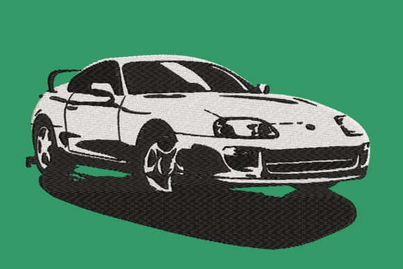Print on Demand: Toyota Supra 4th Generation, B&W Transportation Embroidery Design By Embroidery Shelter