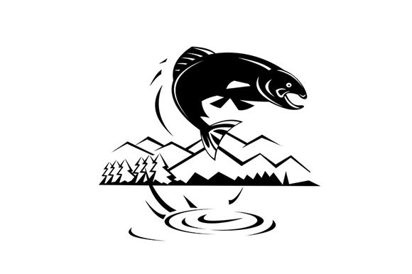 Download Free Trout Fish Jumping Lake With Trees Graphic By Patrimonio for Cricut Explore, Silhouette and other cutting machines.