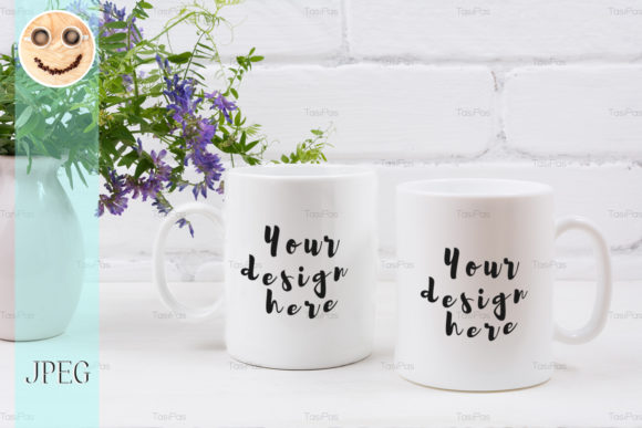Print on Demand: Two Coffee Mug Mockup with Mouse Peas. Graphic Product Mockups By TasiPas