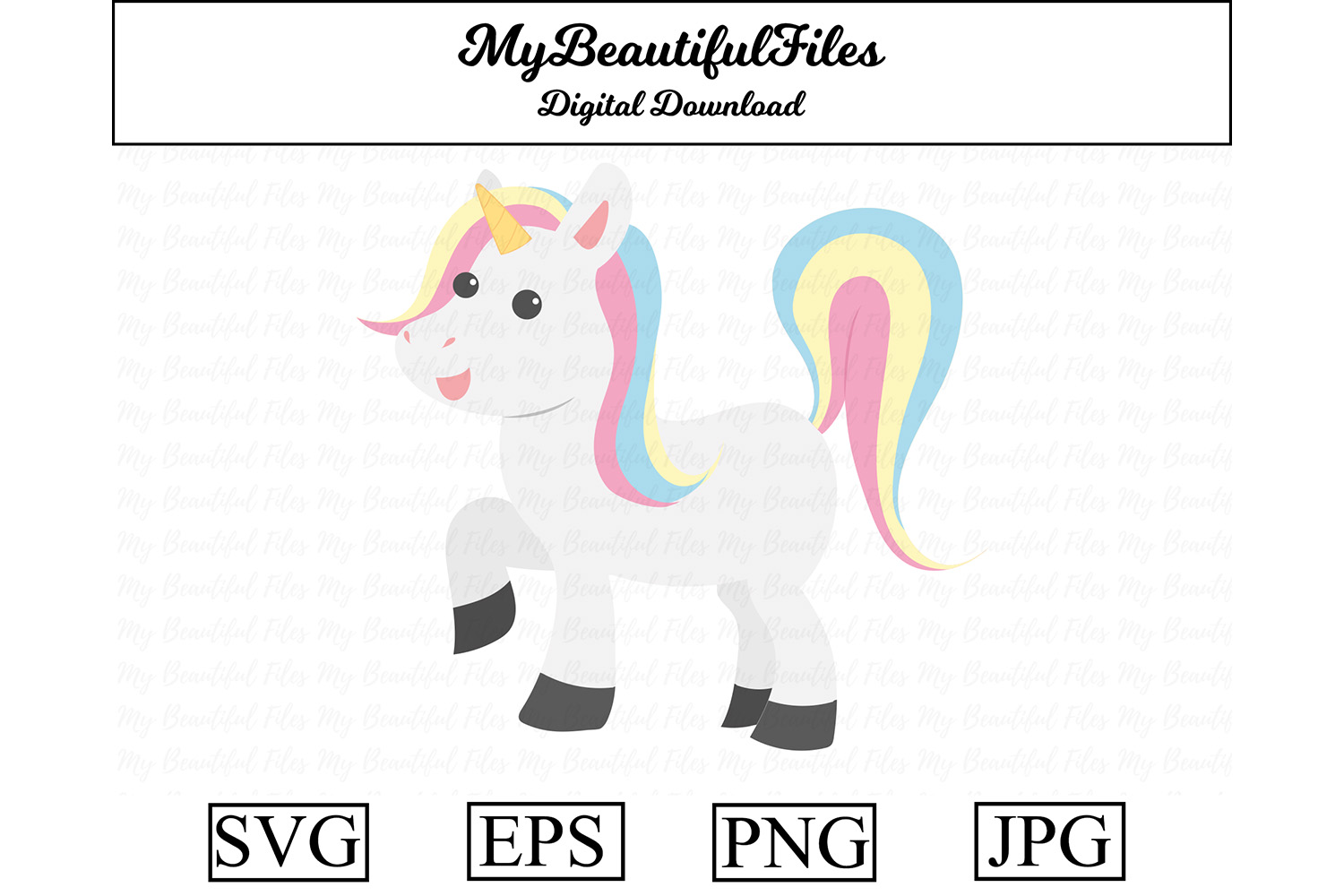 Download Free Unicorn Cute Clipart Graphic By Mybeautifulfiles Creative Fabrica for Cricut Explore, Silhouette and other cutting machines.