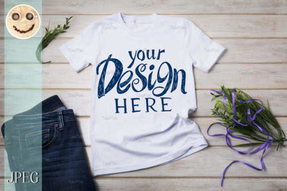 Print on Demand: Unisex T-shirt Mockup with Purple Ribbon Graphic Product Mockups By TasiPas