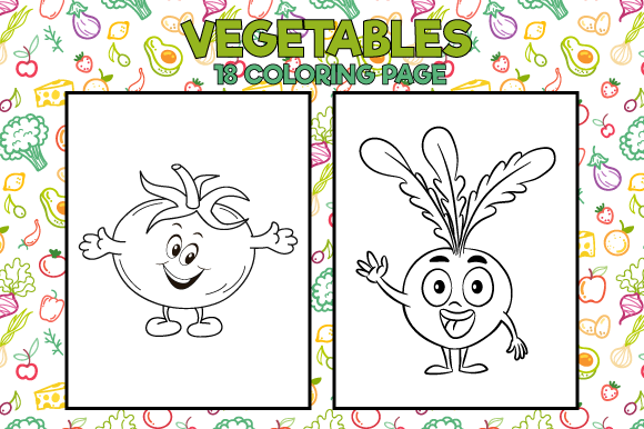 Food Coloring Pages And Cartoon Vegetables Set Coloring Book Page ... | 386x580