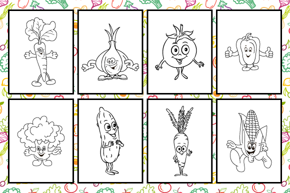 Download Free Vegetables Coloring Page For Kids Graphic By Mk Designs for Cricut Explore, Silhouette and other cutting machines.