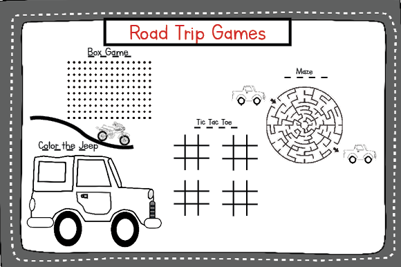 Vehicle Road Trip Activity Pack Graphic Download