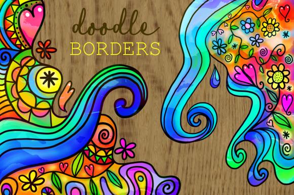 Print on Demand: Watercolor Ink Folk Art Doodle Borders Graphic Backgrounds By Prawny - Image 1