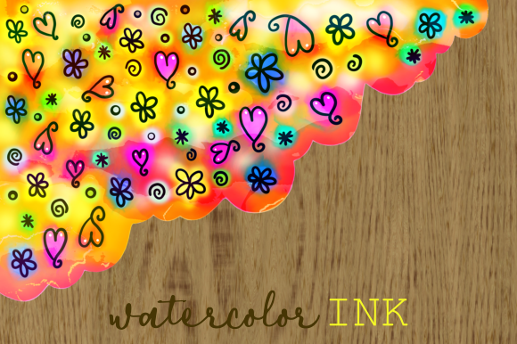 Print on Demand: Watercolor Ink Folk Art Doodle Borders Graphic Backgrounds By Prawny - Image 2