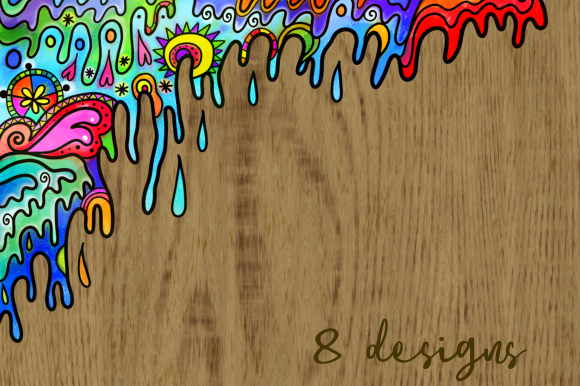 Print on Demand: Watercolor Ink Folk Art Doodle Borders Graphic Backgrounds By Prawny - Image 5