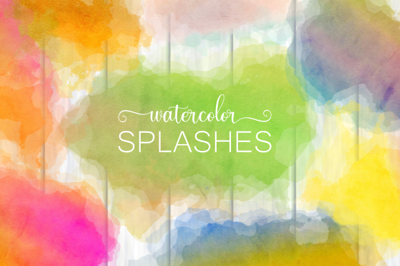Print on Demand: Watercolor Ink Splashes Artistic Decor Graphic Backgrounds By Prawny