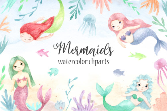 Watercolor Mermaids. Cliparts Graphic Objects By Slastick