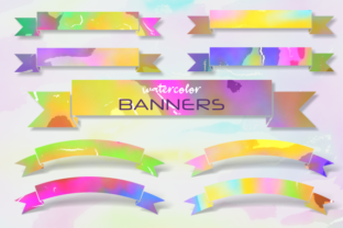 Print on Demand: Watercolor Ribbon Banner Wash Borders Graphic Backgrounds By Prawny