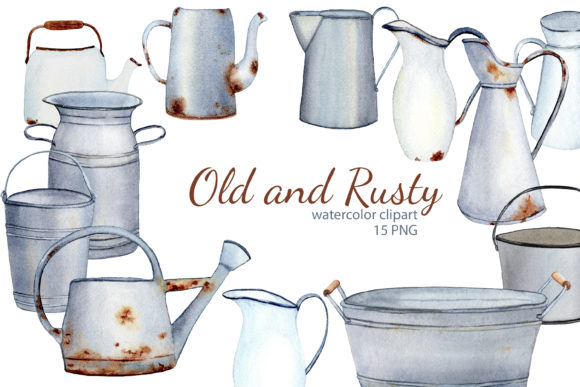 Print on Demand: Watercolor Rustic Farmhouse Clipart Graphic Illustrations By s.yanyeva
