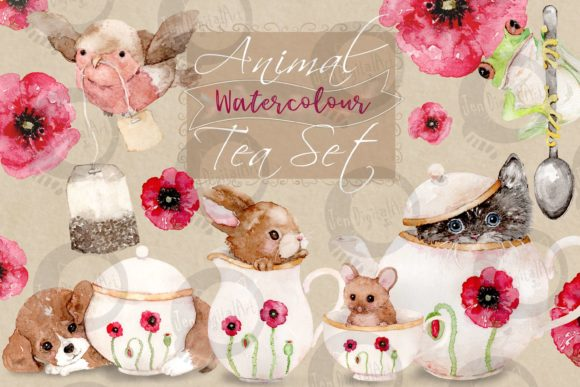 Watercolour Animal Tea Set Graphic Illustrations By Jen Digital Art