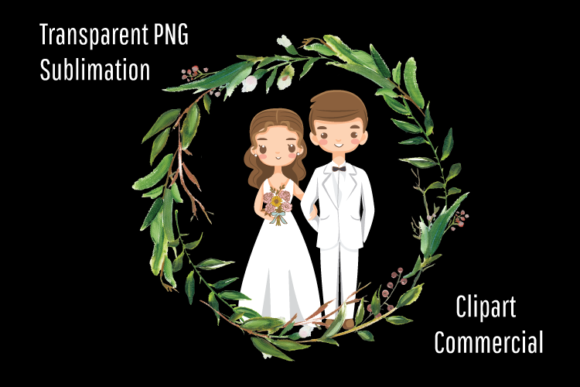 Print on Demand: Wedding Couple Cartoon Mascot Clipart Graphic Illustrations By Blueberry Jam Design
