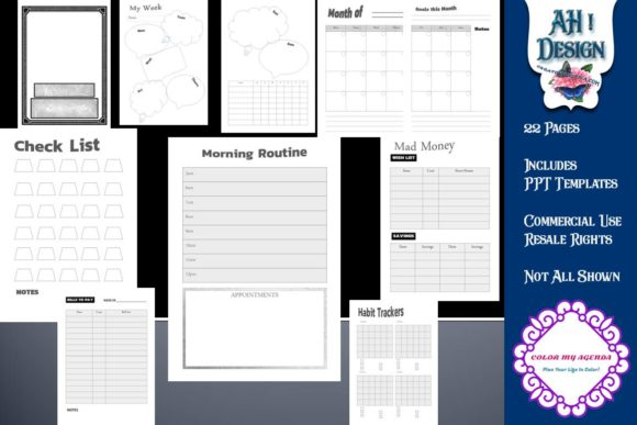 Weekly DFY Planner Graphic Print Templates By AHDesign
