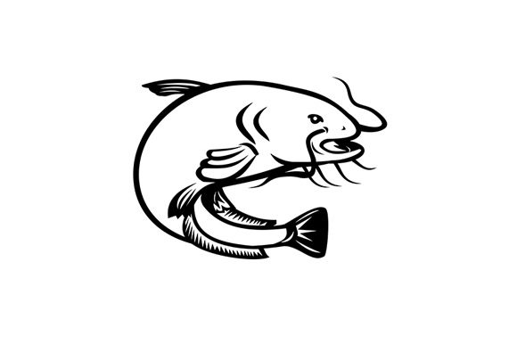 Download Free Wels Catfish Jumping Side Retro Black Graphic By Patrimonio for Cricut Explore, Silhouette and other cutting machines.