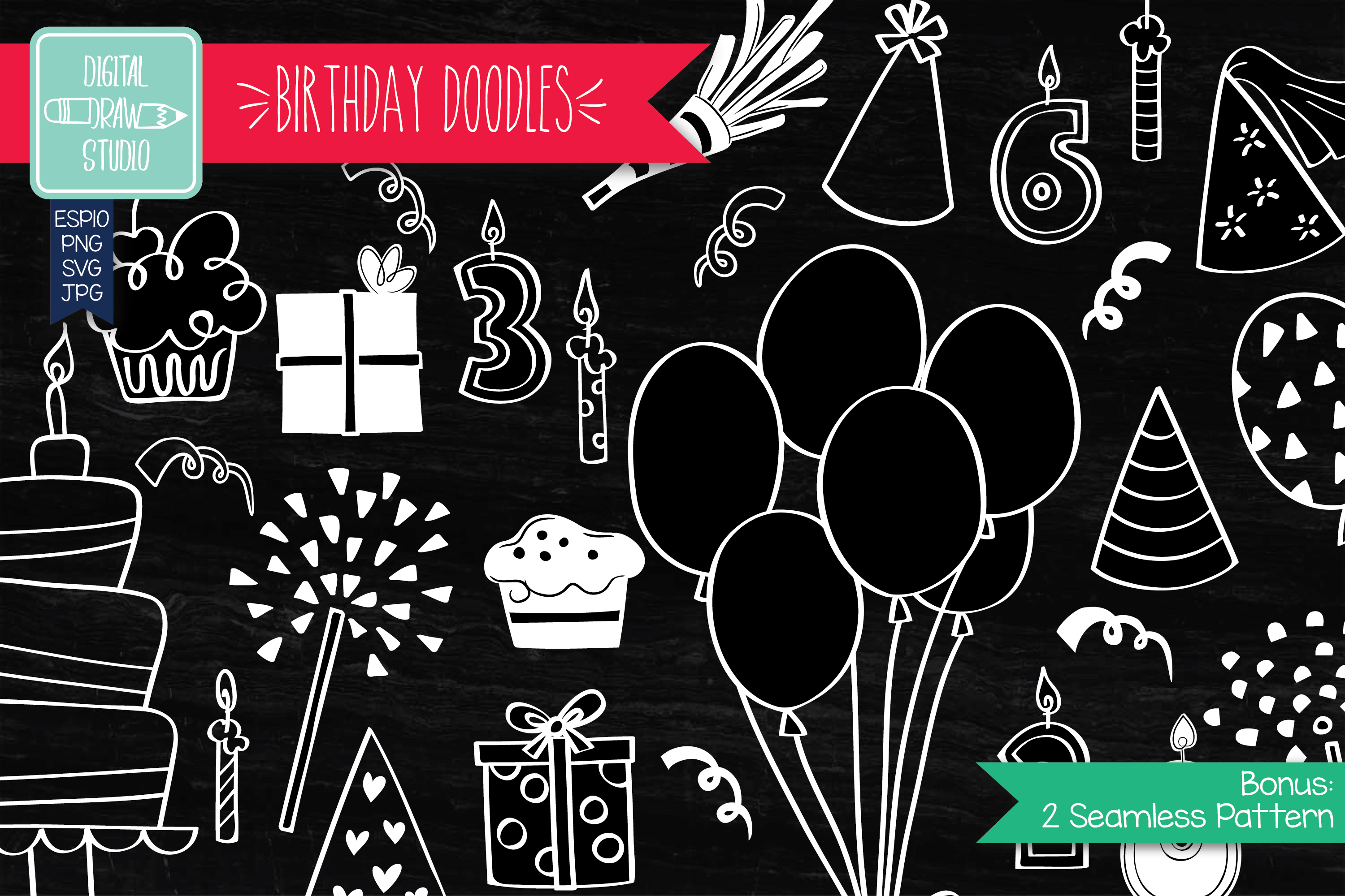 Download Free White Hand Drawn Birthday Doodles Graphic By Carmela Giordano Creative Fabrica for Cricut Explore, Silhouette and other cutting machines.