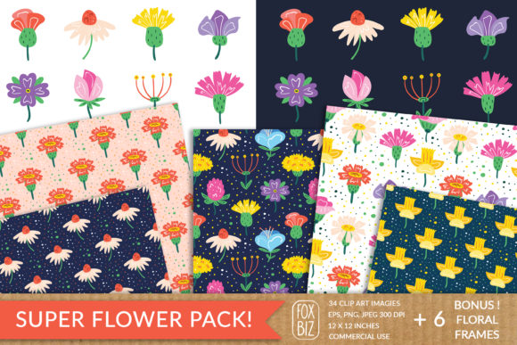 Print on Demand: Wildflowers Cliparts, Patterns, Frames. Graphic Illustrations By FoxBiz