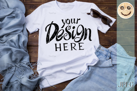 Print on Demand: Women Tshirt Mockup with Turquoise Scarf Graphic Product Mockups By TasiPas