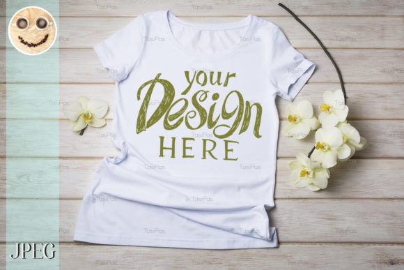 Download Free Women S T Shirt Mockup With Orchid Graphic By Tasipas Creative for Cricut Explore, Silhouette and other cutting machines.