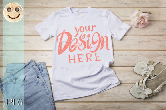 Print on Demand: Women's T-shirt Mockup with Rose Graphic Product Mockups By TasiPas