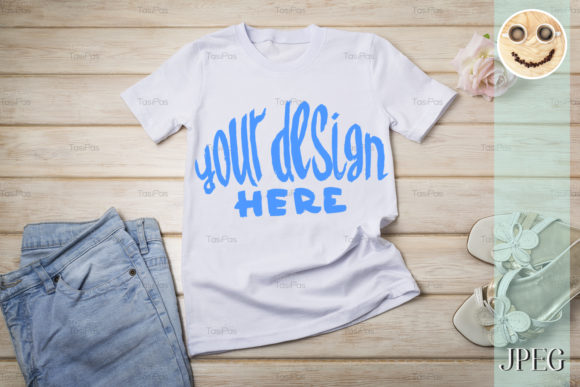 Download Free Women S T Shirt Mockup With Rose Graphic By Tasipas Creative for Cricut Explore, Silhouette and other cutting machines.