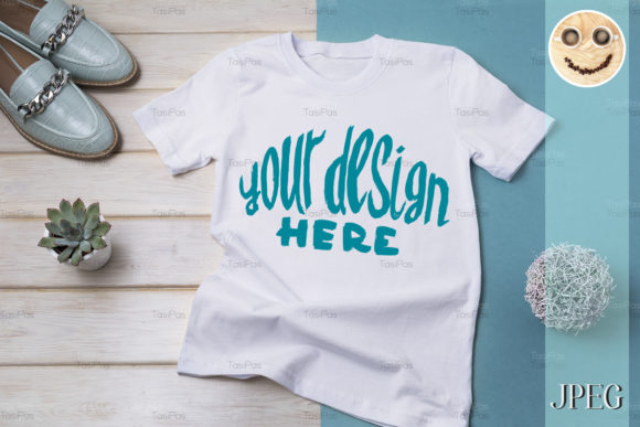 Print on Demand: Women's T-shirt Mockup with Turquoise Graphic Product Mockups By TasiPas