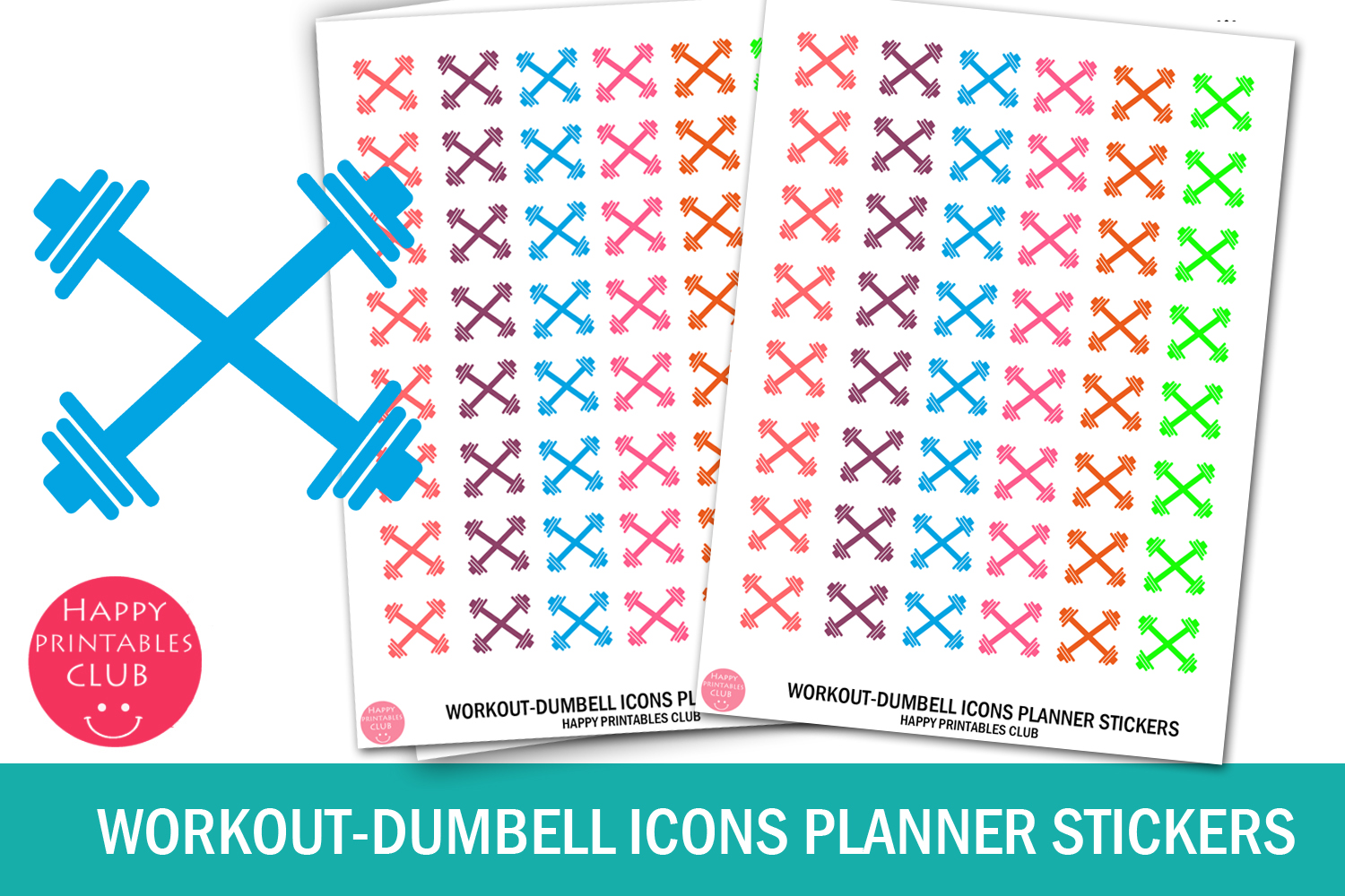 Download Free Workout Dumbell Icons Planner Stickers Graphic By Happy for Cricut Explore, Silhouette and other cutting machines.